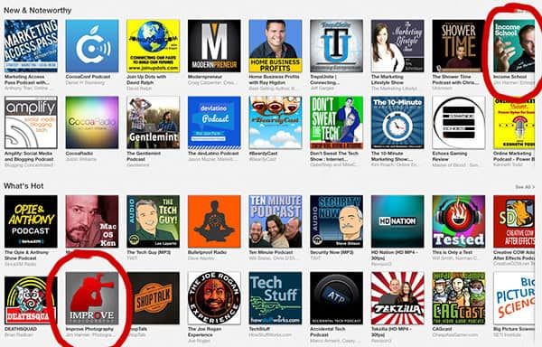 "Yeah baby! My two podcasts ranking high in the competitive ""Technology"" category on iTunes."