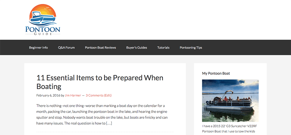 This is a screenshot of my simple blog called Pontoon Guide, where I blogged about my pontoon boat.